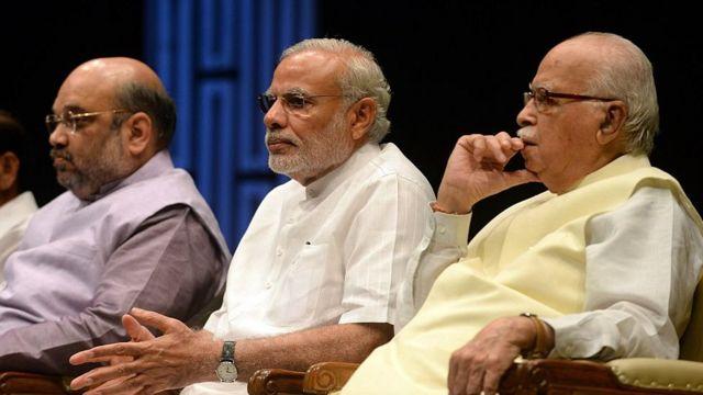 અમિત શાહ, નરેન્દ્ર મોદી અને લાલકૃષ્ણ અડવાણી