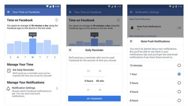 Screenshots of Facebook