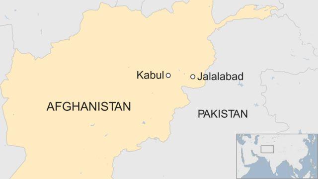 ジャララバード(Jalalabad)と首都カブール(Kabul )の位置