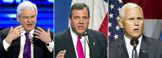 Newt Gingrich, Chris Christie y Mike Pence