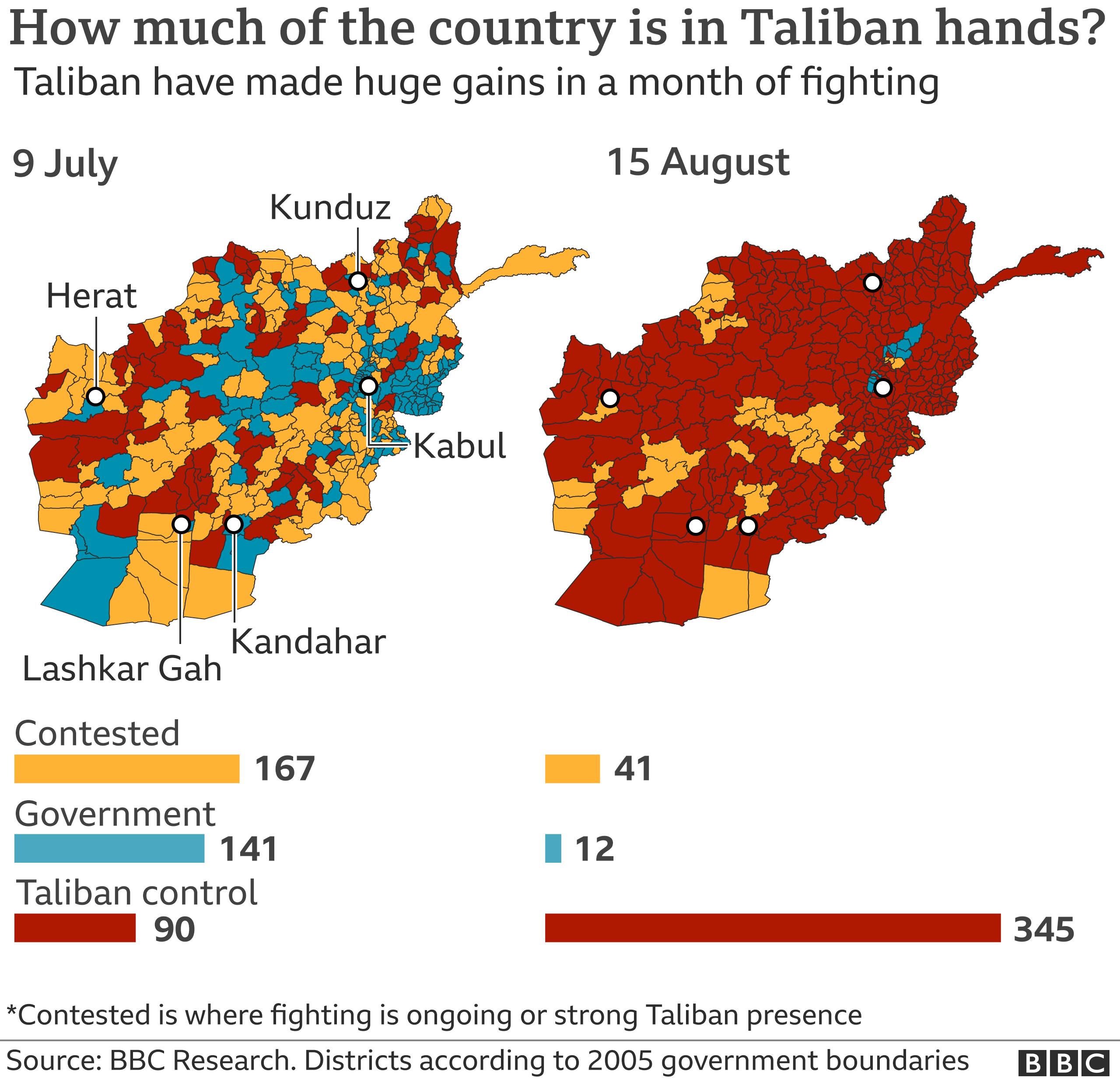 Bản đồ Afghanistan - ngày 15 tháng 8 năm 2021
