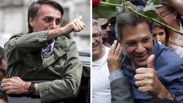 Bolsonaro e Haddad após votar, neste domingo