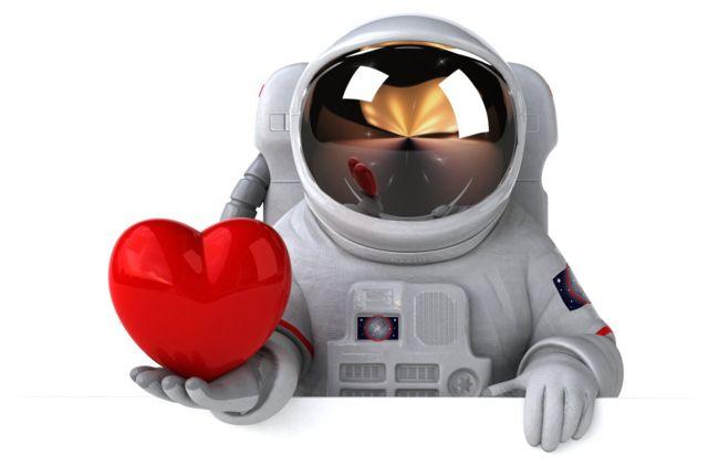 Ilustración de un astronauta con un corazón.
