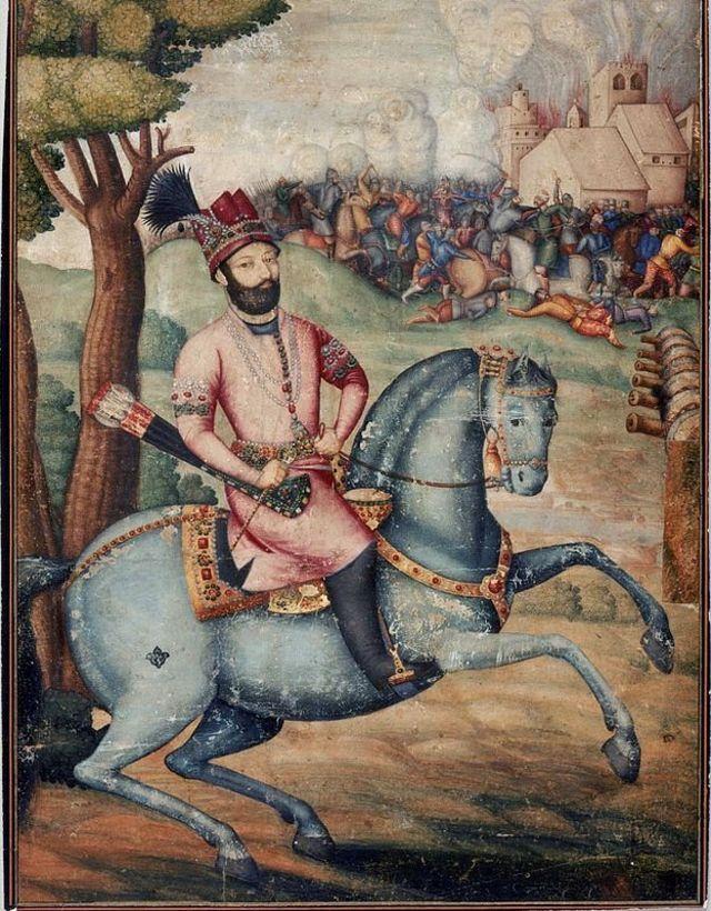 Nader Sah a caballo en Delhi, posiblemente pintado por Muhammad Ali ibn Abd al-Bayg ibn Ali Quli Jabbadar. Museum of Fine Arts Boston.