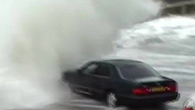 Car hit by waves