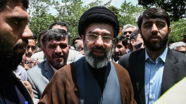 Mojtaba Khamenei (C), son of Iranian Supreme Leader Ayatollah Ali Khamenei, is pictured during a protest marking the annual al-Quds Day in Tehran, Iran (31 May 2019)
