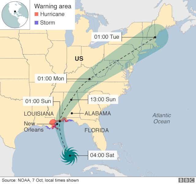 Storm Nate as it heads towards the US, 7 October 2017