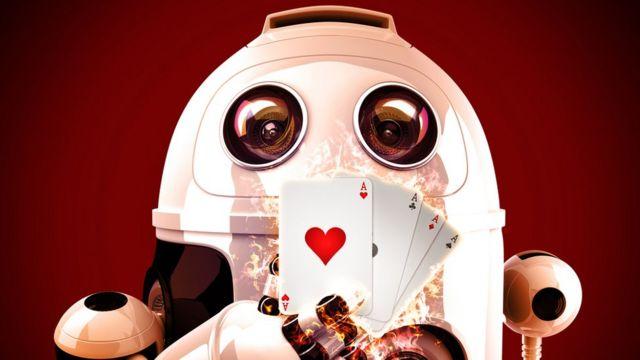 ilustracija robota koji igra poker