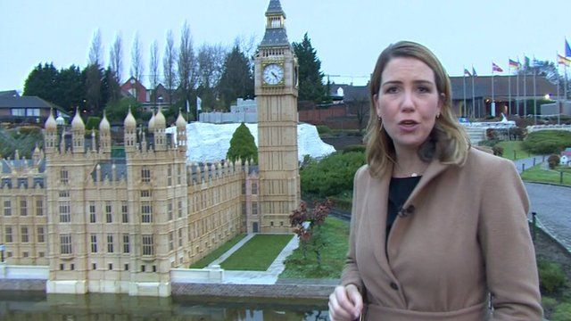 Alex Forsyth in front of model of Palace of Westminster in Brussels' mini-Europe