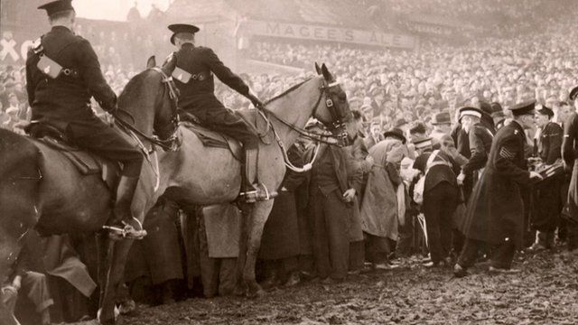 Officers on horseback at Burnden Park