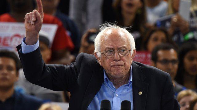 Bernie Sanders speaking in California on 17 May 2016