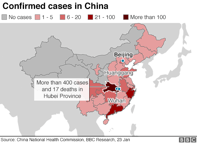 heatmap showing where the cases of the coronavirus are confirmed