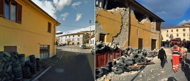 Una casa dañada en Accumoli