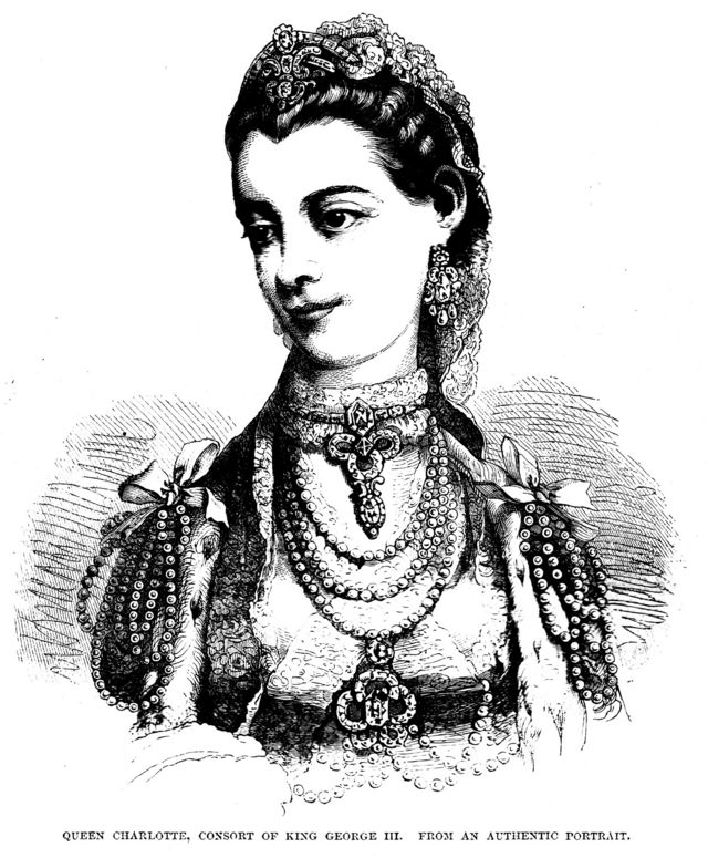 Один из портретов королевы Шарлотты, гравюра середины XIX века