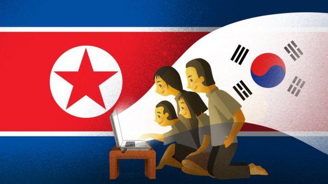 Ilustração de uma família assistindo à TV sul-coreana
