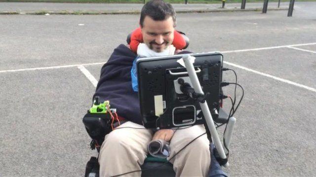 Steve Evans in his wheelchair