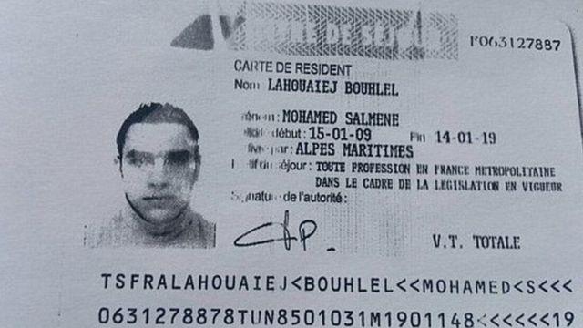 Reprodução de documento de Lahouaiej-Bouhlel divulgada por fontes policiais