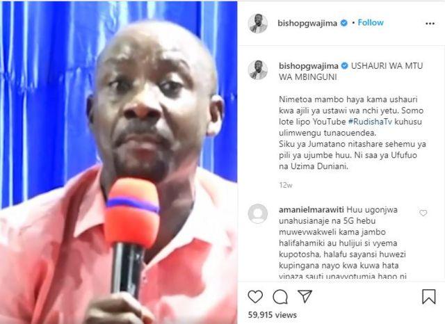 Picha ya video ya askofu Gwajima iliyofutwa na Facebook kwenye Instagram na IGTV