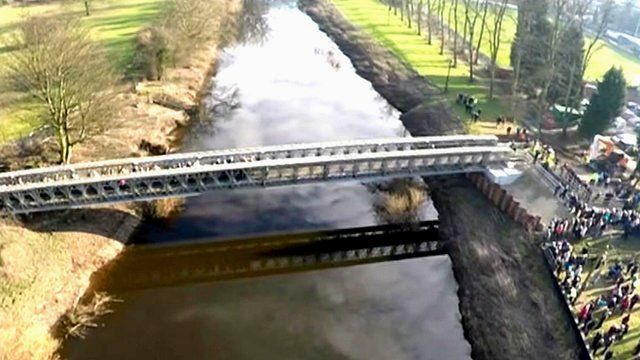 Tadcaster's new footbridge seen from above
