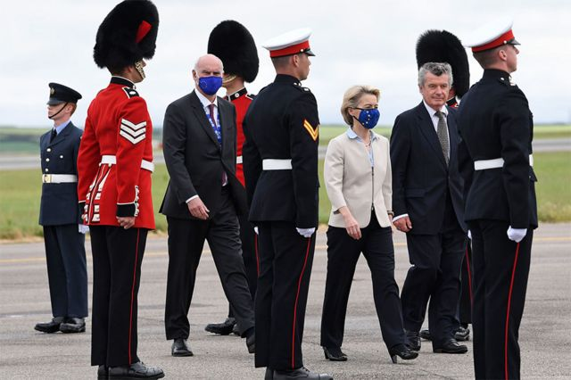 European Commission president Ursula von der Leyen wears a face covering as she arrives in Cornwall for the G7 summit