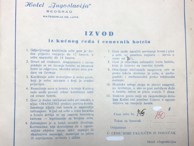 Kućni red, hotel Jugoslavija