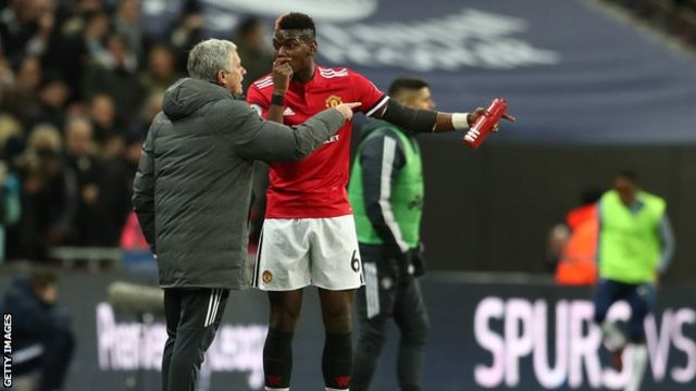 Paul Pogba and Jose Mourinho talk following a goal from the opposition