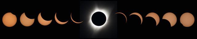 Fotomontaje donde se ve todo el eclipse solar total