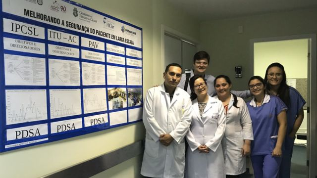 Equipe de profissionais da saúde do Hospital Geral César Cals, em Fortaleza