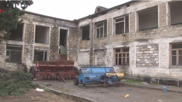 Видео министерства обороны Азербайджана, предположительно взятое азербайджанской армией село Шукюрбейли