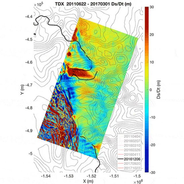 Mapa del glaciar Thwaites