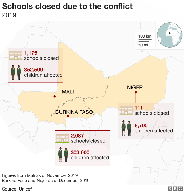 Map showing number of schools closed