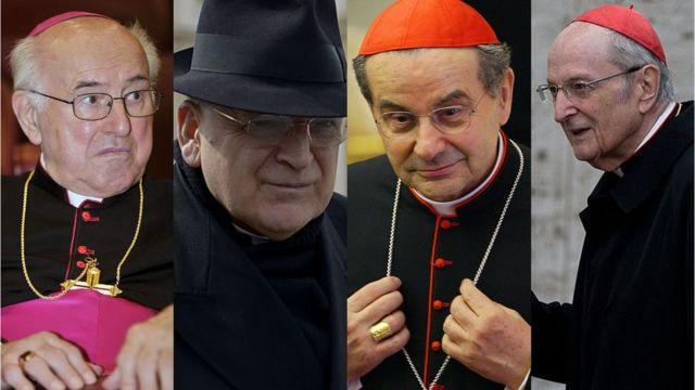 Os cardeais que assinaram a carta: Walter Brandmüller, Raymond Burke, Carlo Caffarra e Joachim Meisner