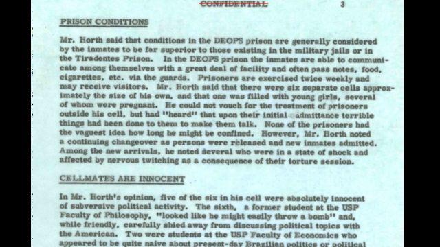 reprodução de documento datilografado, com palavra 'confidencial' riscada em vermelho