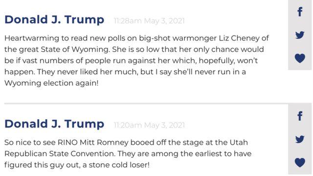Posts on Donald Trump's website
