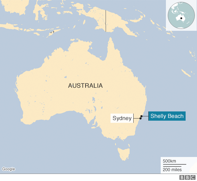 Map of Australia, showing Shelly Beach