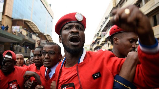 Bobi Wine, whose real name is Robert Kyagulanyi, at a protest