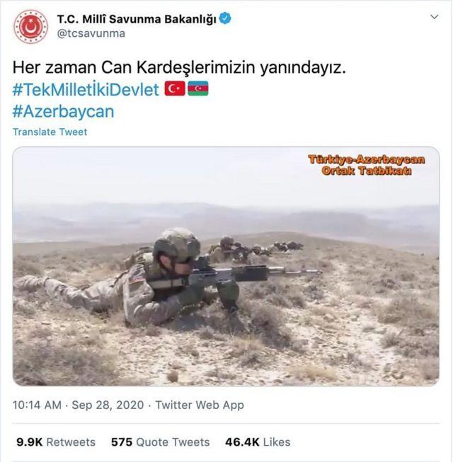 وزارت دفاع ترکیه اعلام کرد که از آذربایجان در برابر ارمنستان حمایت میکند