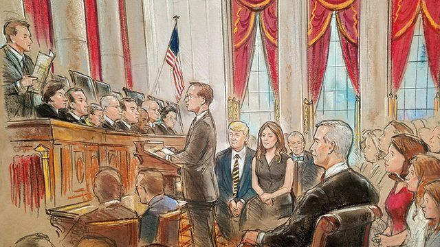 Bill Hennessy's sketch of Nil Gorsuch's investiture in court - with Donald Trump and Melania Trump in the background