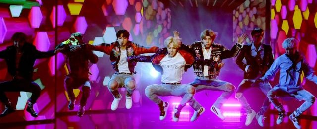 BTS performs onstage at the 2017 American Music Awards