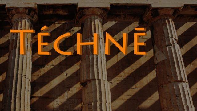 Tecne escrita sobre templo