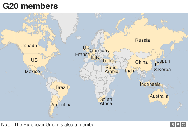 World Map Locating South Africa,Australia Brazil,Russia,Canada What is the G20 summit, and what do world leaders talk about