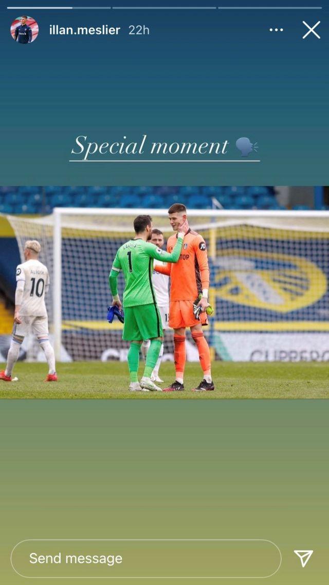 Leeds' Illan Meslier and Tottenham's Hugo Lloris embrace after their match