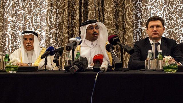 Министры нефти и энергетики Катара, Саудовской Аравии и России