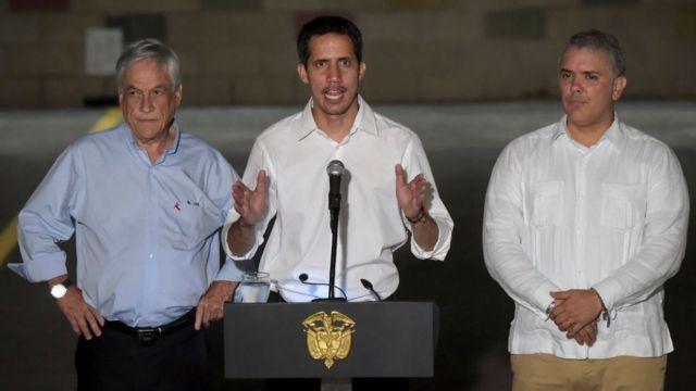 Sebastián Piñera, Juan Guaidó e Iván Duque.