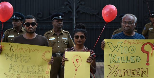 Демонстранты на Мальдивах