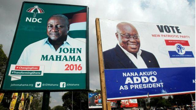 Campaign billboards show Ghana's President John Mahama and his election rival Nana Akufo-Addo
