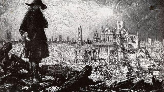 Лондон после чумы и пожара 1666 года. Иллюстрация