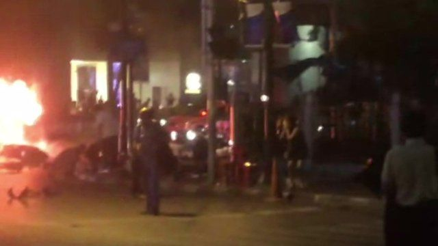 Footage of explosion in centre of Bangkok