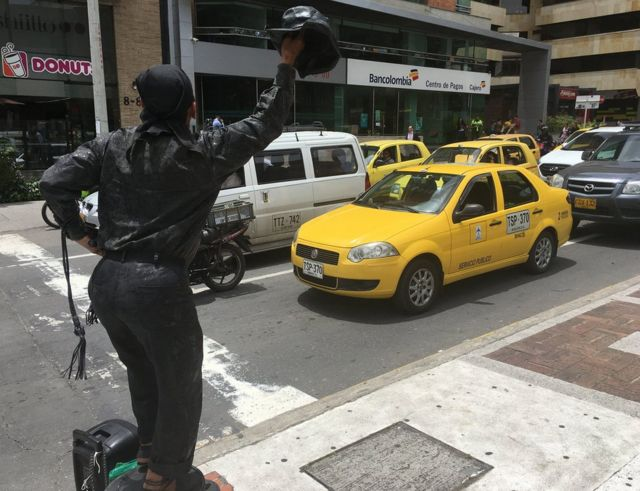 Venezolano en una calle de Bogotá