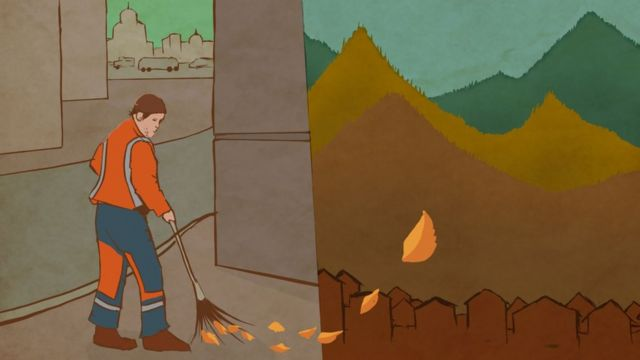 Illustration: a worker sweeping the streets